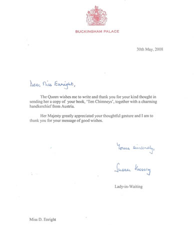 A thank you note from Buckingham Palace.