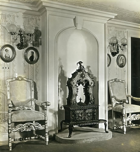 Flirtation Room, 18th century Swedish chairs, the stove is from Vermont