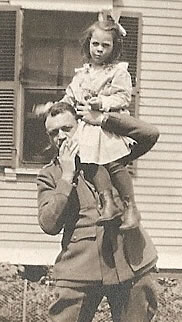 Home from the Front with his niece, Helen, 1919.