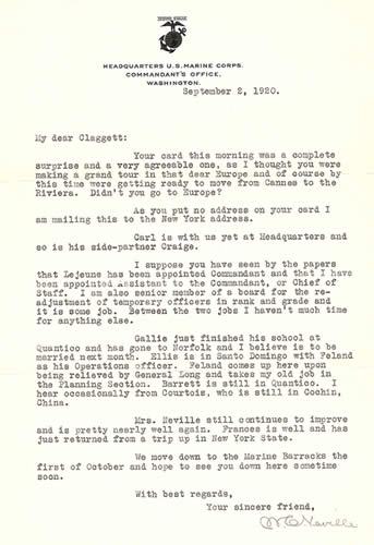 Personal Letter to Claggett Wilson from his friend, Major General Neville