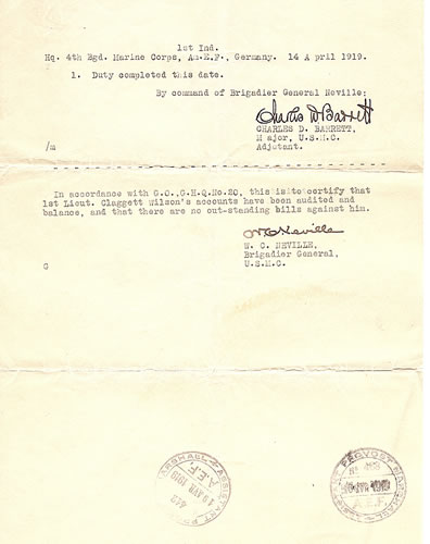 Claggett Wilson War Service document