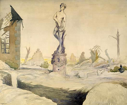 Bacchus Survivor, In a Ruined Château in Champagne Country by Claggett Wilson