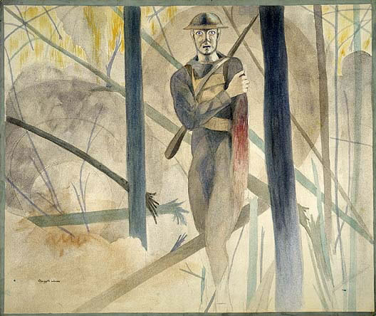 Runner Through the Barrage, Bois De Belleau, Château-Thierry Sector by Claggett Wilson