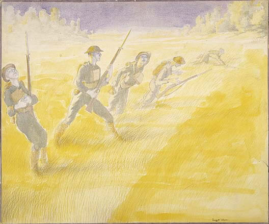 First Attack on the Bois De Belleau, Marines Advancing, June 6, 1918 by Claggett Wilson
