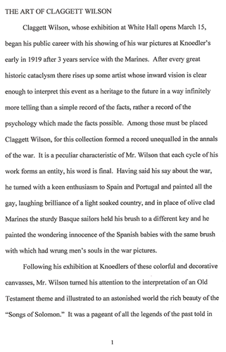 article on Claggett Wilson